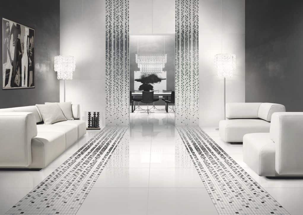 Gạch màu trắng kết hợp với màu đen