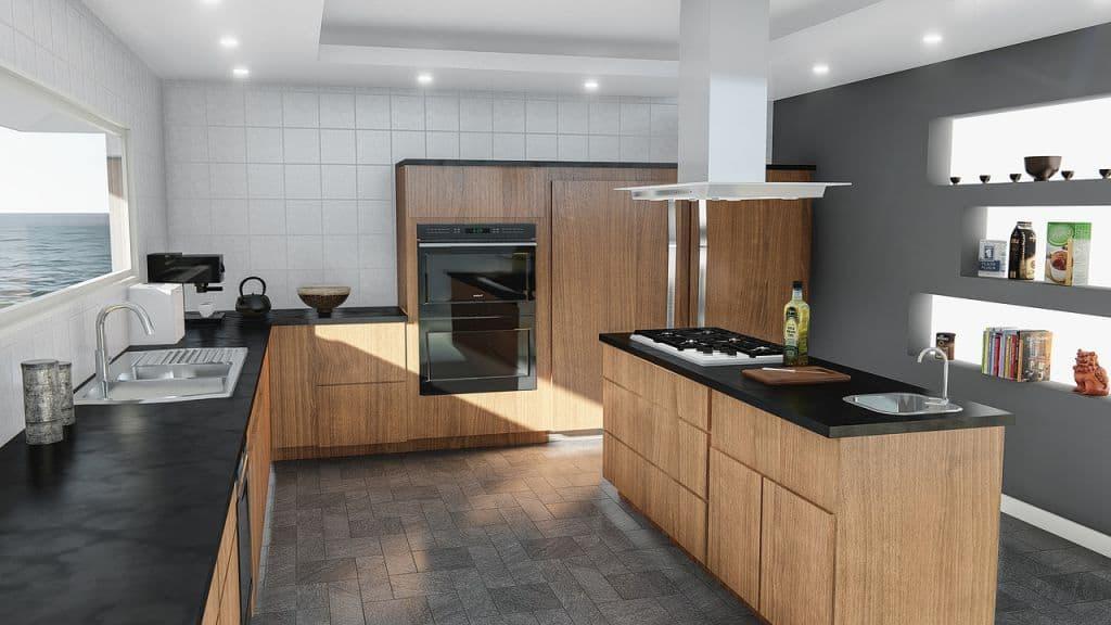 Ứng dụng gạch hình chữ nhật vào không gian phòng bếp