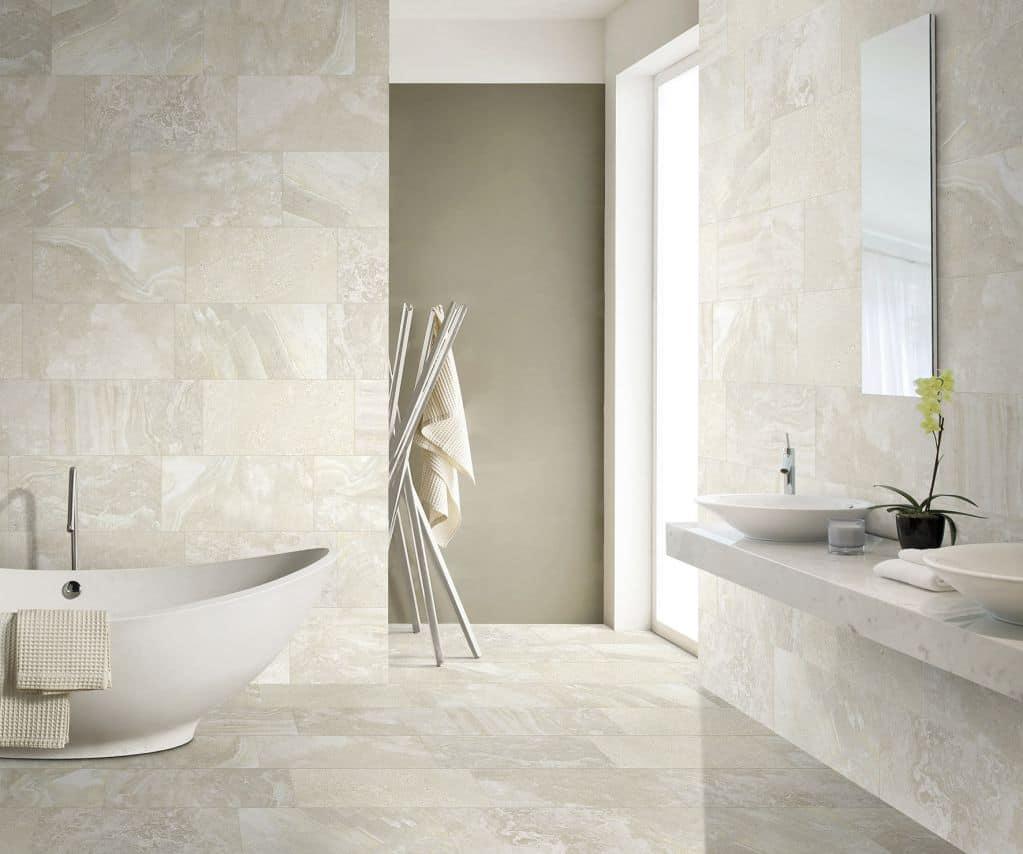 Gạch lát nền phòng tắm vân đá sang trọng