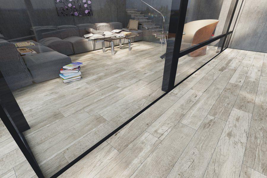 Gạch vân gỗ màu xám trắng hiện đại