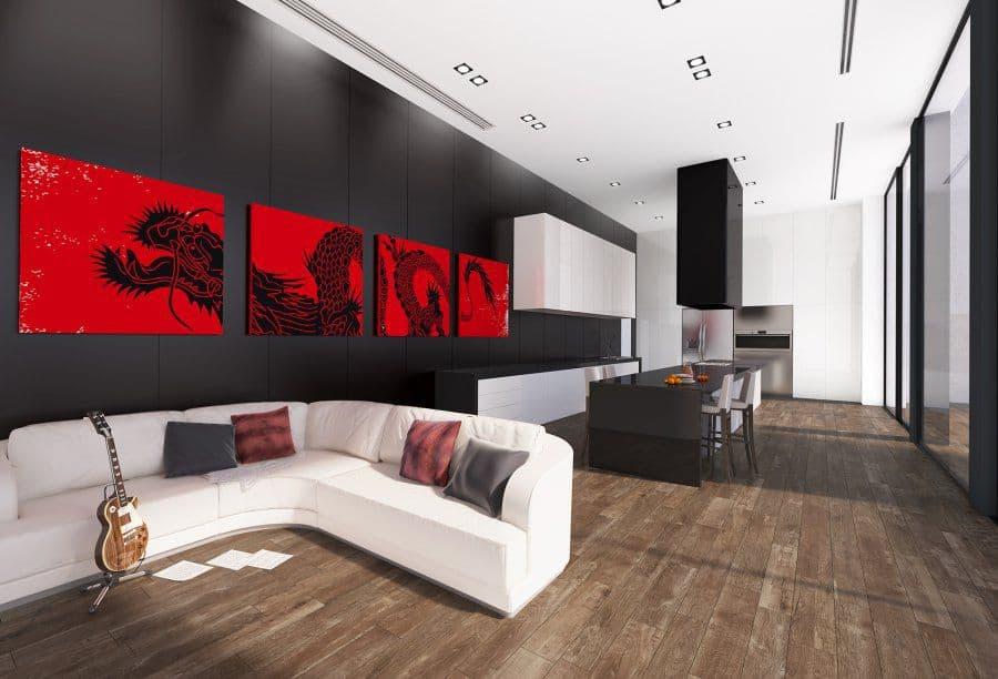 Gạch lát nền phòng khách vân gỗ an toàn và thân thiện
